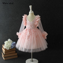 Flower Girl Dress Pink Tulle Long Sleeve Princess for Party Elegant Communion Dresses Teenager