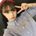 College Wind Cute Cartoon Embroidered Striped Classic Simple Loose Casual Female Shirts
