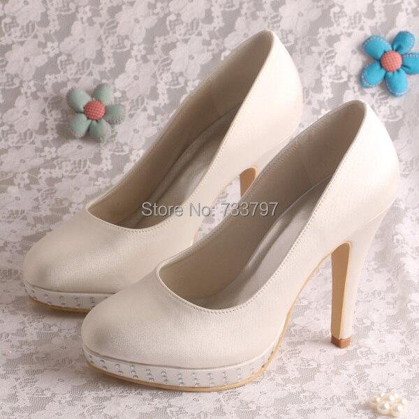 Wedopus Brand Name High Heel Satin Bridal Shoes Wedding