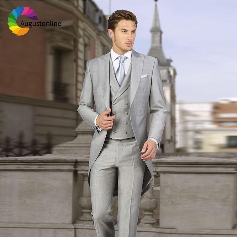 Augustonline Italian Gray Tailcoat Wedding Men Suits Groom Tuxedos 3 Pieces (Jacket+Pants+Vest) Bridegroom Suits Business Prom