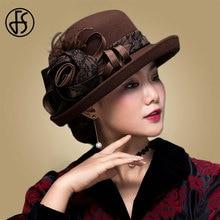 FS בציר שחור פעמון צמר רחב שוליים פדורה כובע לנשים פרח אדום חום הרגיש חורף Bowler כובע Chapeau feutre Femme