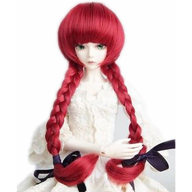 """[wamami] 97# Wine-red Long Wig With Ponytail For 1/4 MSD AOD DOD BJD Doll 7""""-8"""""""