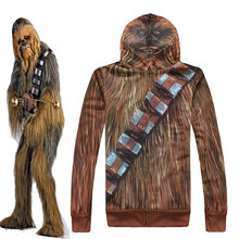 Star Wars: The Force Awakens Cosplay Chewbacca Coat Men/Women Causal Cool Zipper Jackets Monsters Hoodies & Sweatshirt USA SIZE