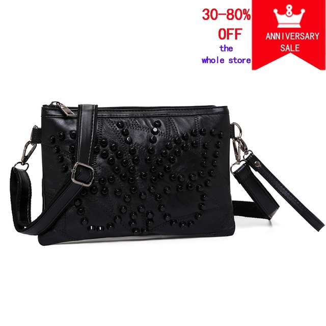 Imentha Women Shoulder Bags Black Rivet Leather Handbags Stud Day Clutch Bag Purses