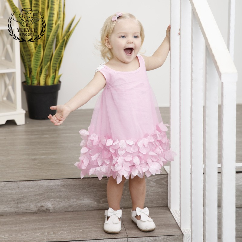 2018 niñas princesa vestidos de novia de color rosa Deguisement ...