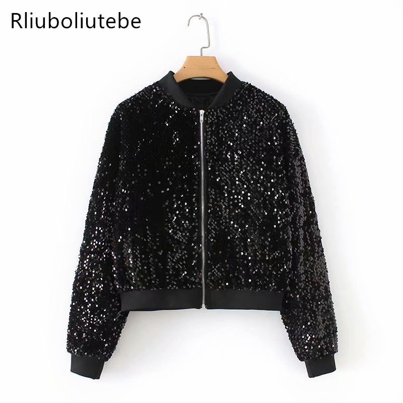Sequin Bomber   Jacket   Women Long Sleeve   Basic   Coats Stand Colar Outerwear Spring Autumn Clothes Vintage Causal Bomber   Jacket