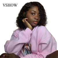 VSHOW 13x4 Water Wave Short Bob Wigs Pre Plucked With Baby Hair 150 Density Remy Lace Front Brazilian Human Hair Wigs