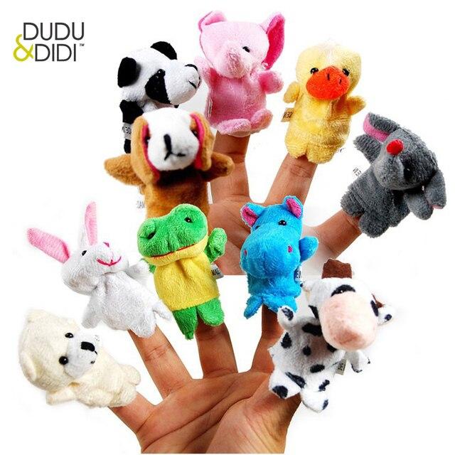10 pçs/lote, Baby Toy Plush/Finger Puppets/Contar a História Props (10 grupo animal) boneca Animal/Kids Brinquedos/Presente Das Crianças WJ208