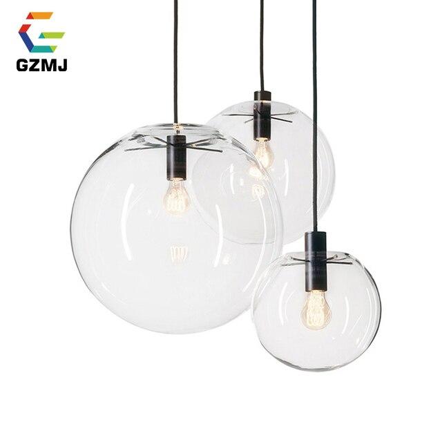 GZMJ LED Rope Pendant Lights Globe Chrome Glass Ball Hanglamp Lustre Suspension Kitchen Lights Fixture Home Hanging Lights E27