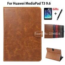 "Caso de lujo Para Huawei MediaPad T3 10 AGS-L09 AGS-L03 9.6 ""Smart Cover Funda Tablet para Honor Juego Pad 2 9.6 PU Caso + Película + Pluma"