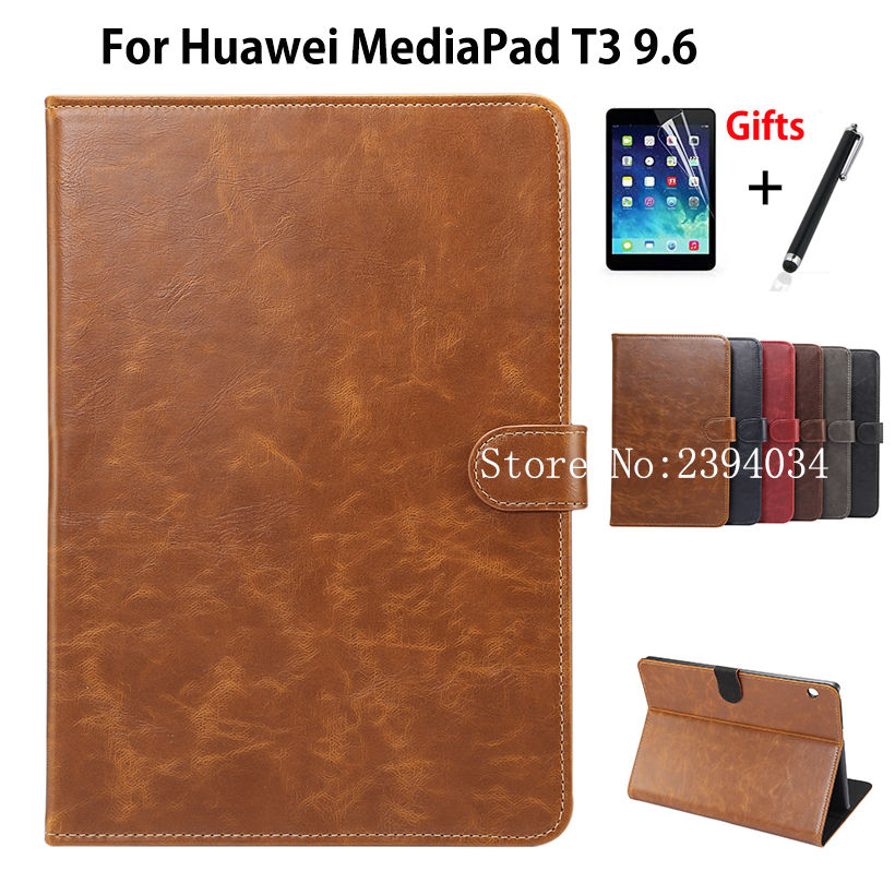 Luxury Case For Huawei MediaPad T3 10 AGS-W09 AGS-L09 AGS-L03 9.6 Smart Cover Funda Tablet for Honor Play Pad 2 9.6 +Film+Pen for huawei mediapad t3 7 0 wifi case soft silicone case cover for huawei mediapad t3 7 0 bg2 w09 7 inch tablet pc gifts