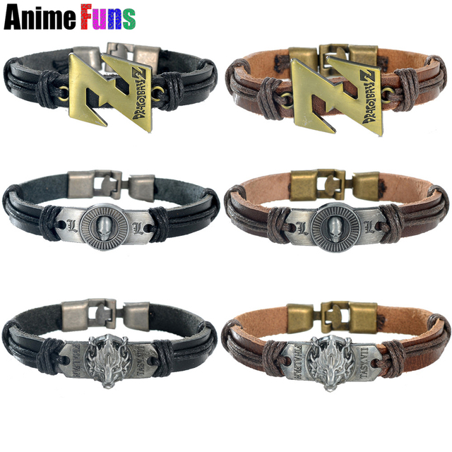 Handmade Dragon ball Z Death Note Skull Leather Bracelet