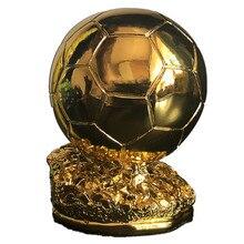 15cm wysoki puchar piłkarski pozłacana piłka nożna nagroda żywica złoty kolor model prezent fani pamiątki MVP