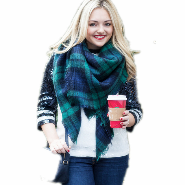 f0e009dc796cb Deep Green Plaid Scarf Elagant Frayed Raw Board Oversized Blanket Square  Scarves for women