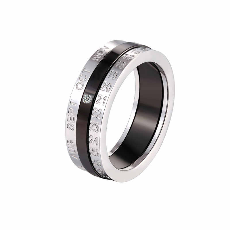 Hot Sell Titanium Steel Middle Black Inlaid Zircon Silver Color Date And Month Can Rotated Ring For Men And Women Jewelry Gift