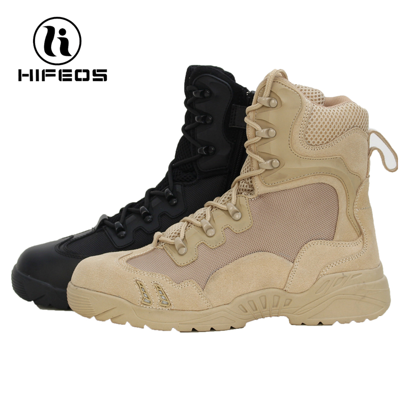 HIFEOS men high-top tactical boots outdoor hiking shoes desert american magnum trekking sneakers breathable anti-slip M022 hifeos outdoor hiking shoes anti slip boots lace invisible increased men s shoes comfortable breathable sneakers climing m065