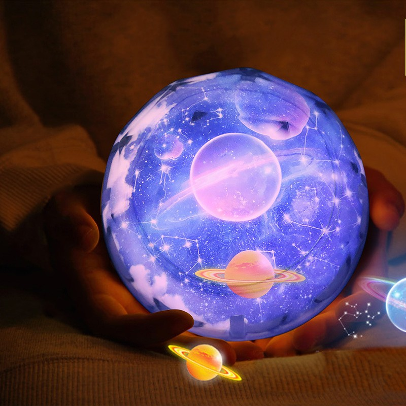 FENGLAIYI Planet Magic Flicker Star Moon Earth Cosmic Projection Lamp Rotation LED Colorful Night Lights Home Decoration Gifts