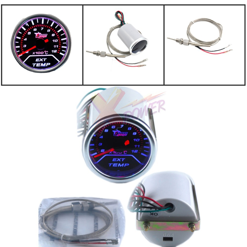 Xpower-New 2 52cm Universal Car Motor EGT Exhaust Gas Temperature LED Gauge Meter