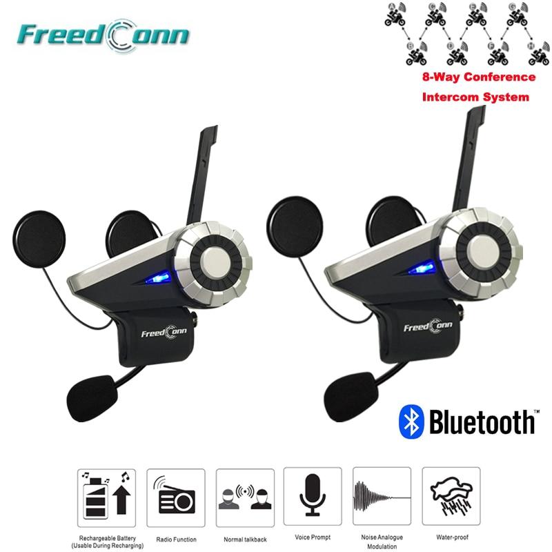 2 pcs/Lot 8 voies moto casque Interphone 1000 M étanche BT Bluetooth sans fil Interphone T-REX
