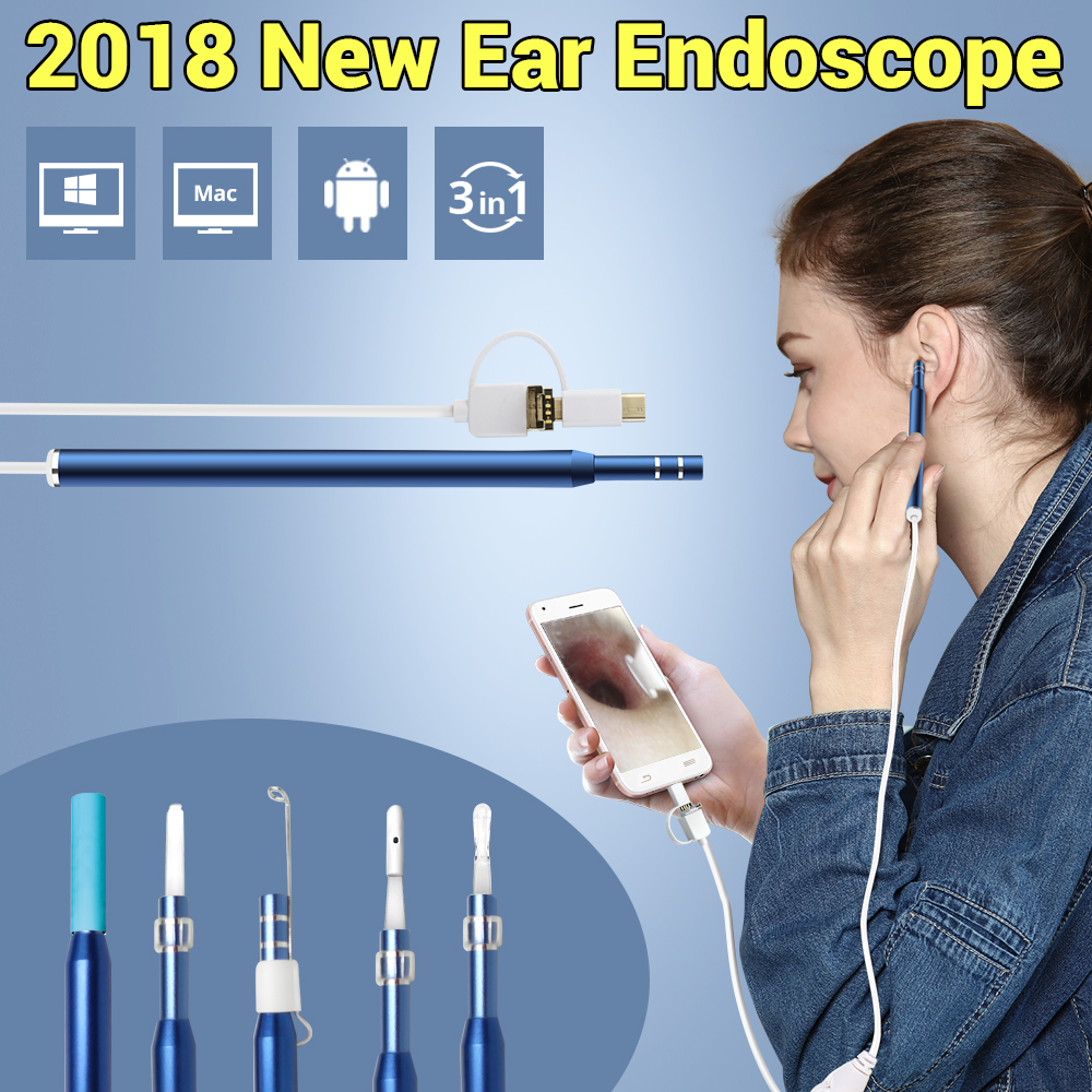 3-in-1 OTG Visual Ear Cleaner Cleaning Endoscope  Spoon Multifunctional Earpick Diagnostic-Tool Examination Mini Camera DIY Kit blessfun 2 in 1 professional diagnostic medical ear eye care led fiber otoscope ophthalmoscope tool sets