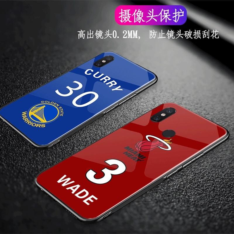 Tempered Glass Curry NBA Basketball Phone Case for iphone 6 Cases Cover for iphone X 8 8 Plus 7 Plus 6s  jordan Kobe Bryant Wade