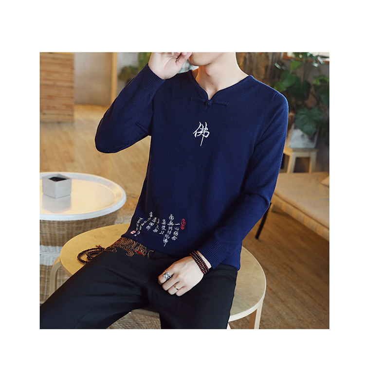 Chinese style Buddha embroidery Pull Homme Pullover Men spring autumn Casual sweater knit leisure Jersey Hombre Cotton v-neck 79