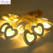 FENNGRISE 10 LED Wooden Heart Shape String Fairy Lights Wedd