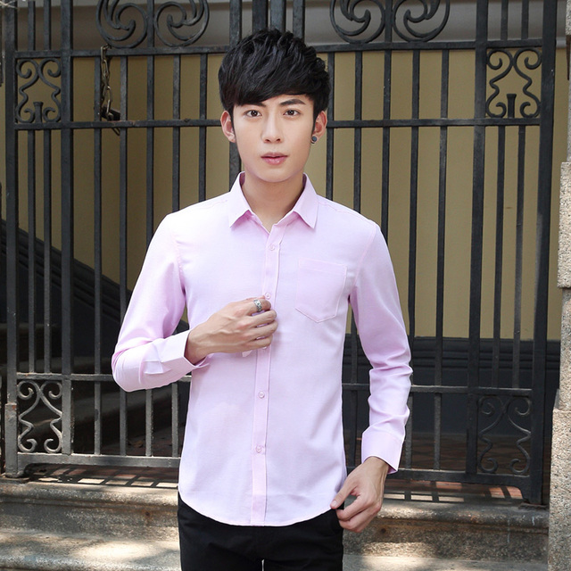Spring 2017 Young Men's Long Sleeve Dress Shirts solid Collar Classic-fit Comfort Soft Cotton Casual Button-Down Shirt