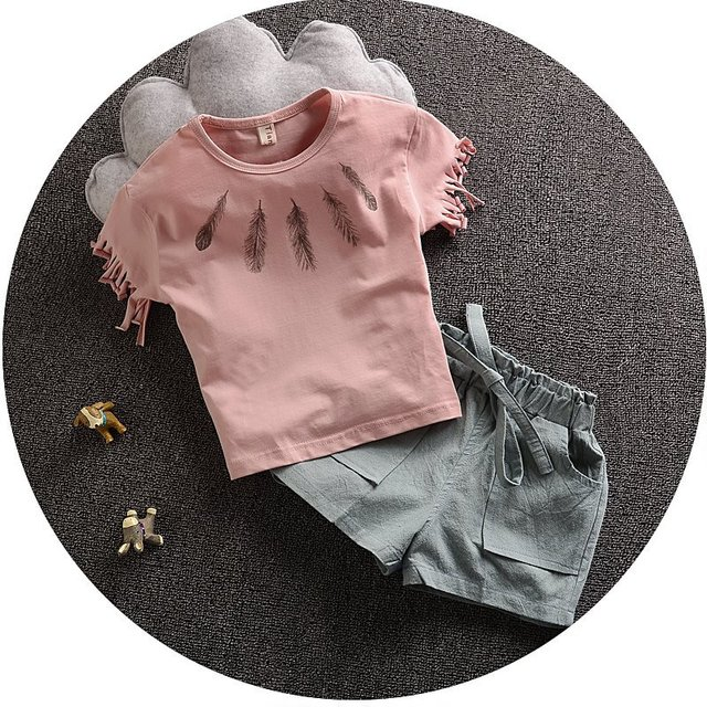 2016 Summer Newborn Baby Girl Clothes Baby Romper Set short Sleeve t shirt  tassel denim shorts Pants Roupas Infantis Menino kid