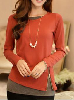 New 2018 long sleeve T shirt slim women's long round collar knit undershirt-Q50