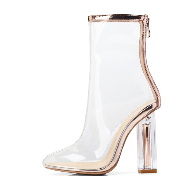 Women's Transparent PVC Boots Female Clear Summe  Ankle Booties Square High Heels Round Toe Zipper Casual Footwear Ladies  Shoes
