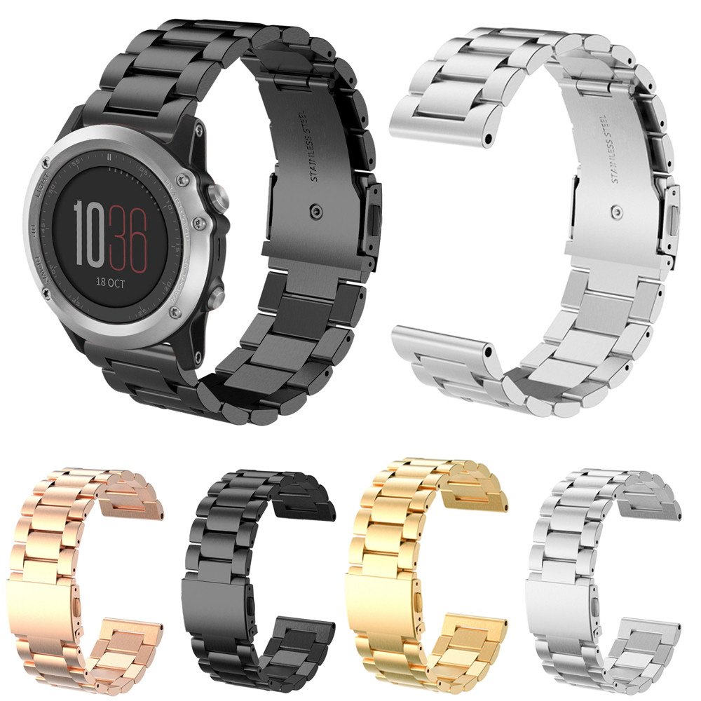 Watchbands For  Garmin Fenix3 Smart Watch Black Silver Gold Bracelet Stainless Steel Metal Watch Band Strap 26mm new men black gold silver metal watch band stainless steel bracelets for sports watch smart watch for gramin fenix 3
