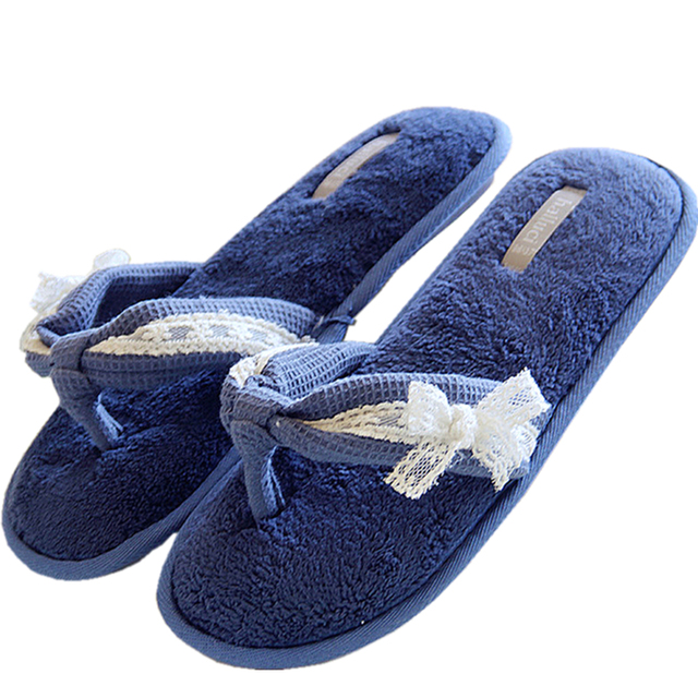 2f858a515 Summer Ladies Navy blue Home Slippers For Women Indoor Lace Bow Waffle Flip  Flops House Girls Cotton Flats Soft Flip Flop YB1713