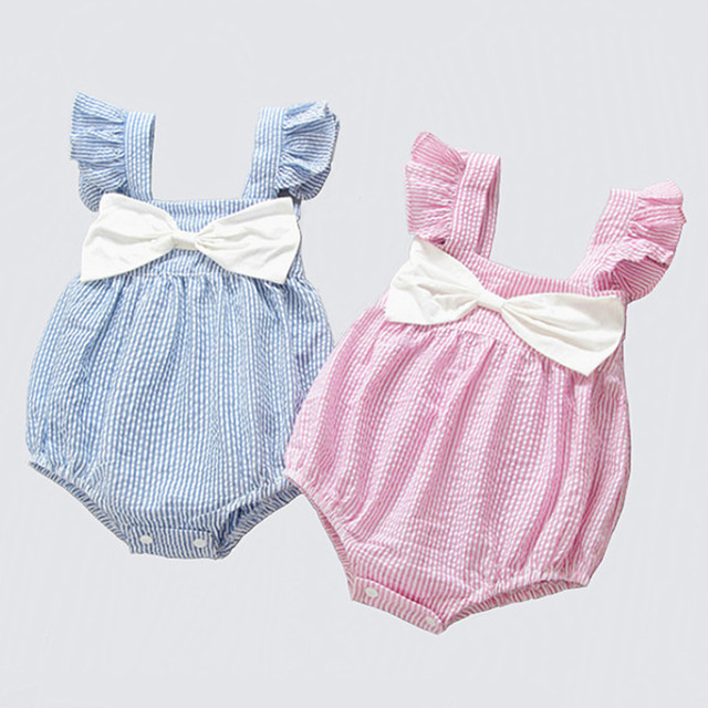 4f26d209afa6 Baby Romper Girl Newborn Baby Girl Clothes Summer Cotton Little Princess  Sunsuit Baby Romper Striped Bow Baby Jumpsuit Short