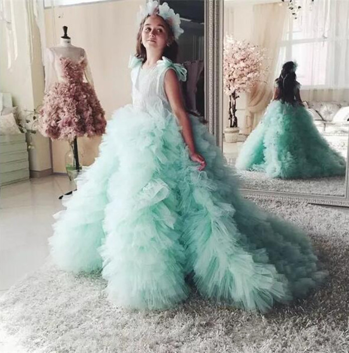 Mint Green Ball Gown Flower Girl Dresses 2018 Pageant Gown for Girls Glitz Court Train Ruffles With Bow Kids Prom Dresses hot newest fuchsia ball gown organza ruffles flower girl dresses kids pageant dresses vestidos de desfile kids party dresses
