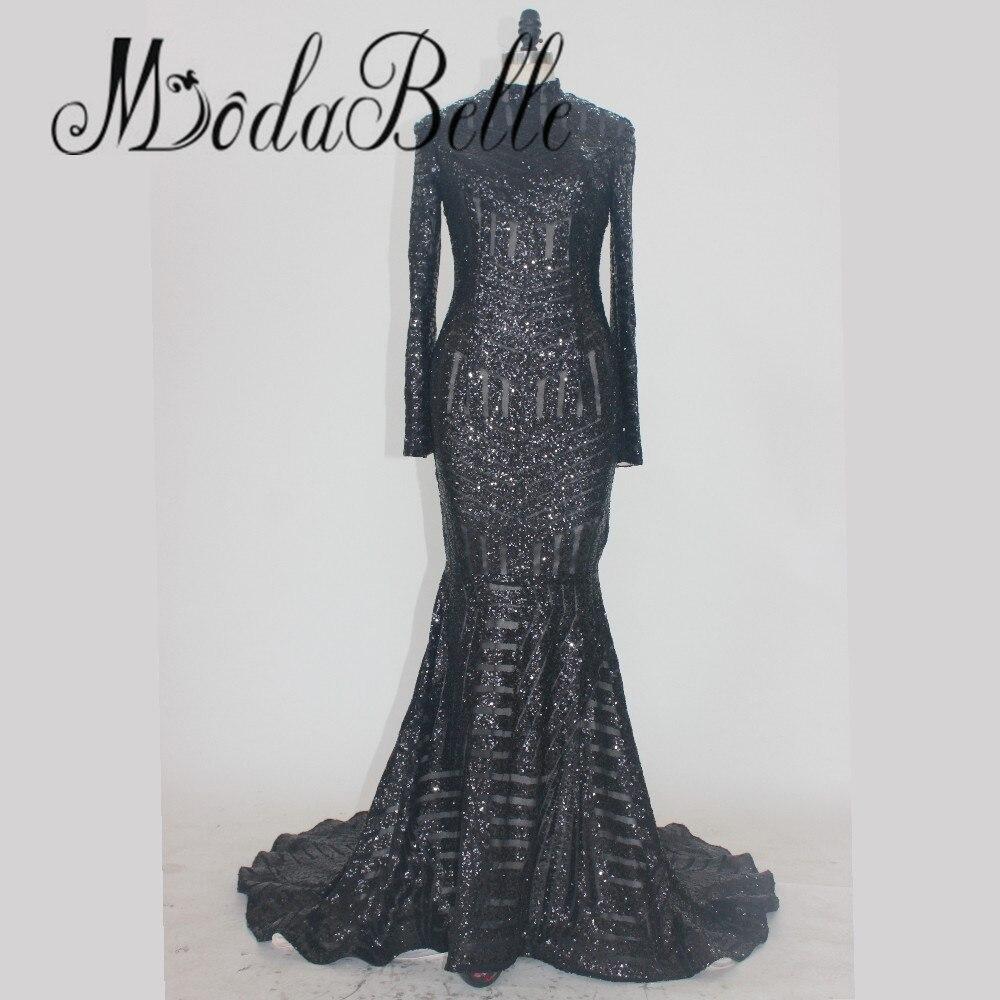 Unique Long Sleeve Glitter Black Mermaid Sequin Prom Dress 2017 ...