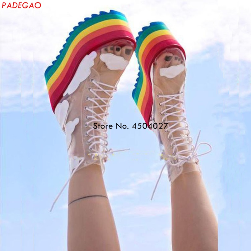 New Rainbow Thick Bottom Boots Fashion Transparent PVC Lace Up Platform Boots Nightclubs Cake Bottom Female Boots