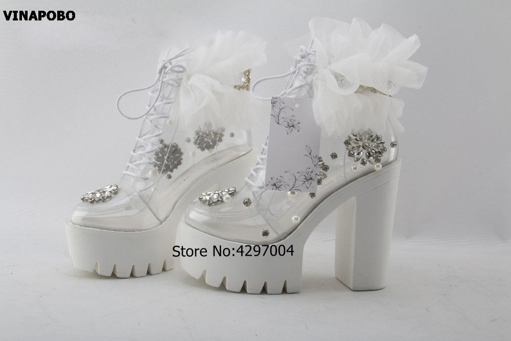 New Fashion Transparent Ankle Boots Crystal pearl Bead Lace Up Thick Heel Boots Women Lace Flower