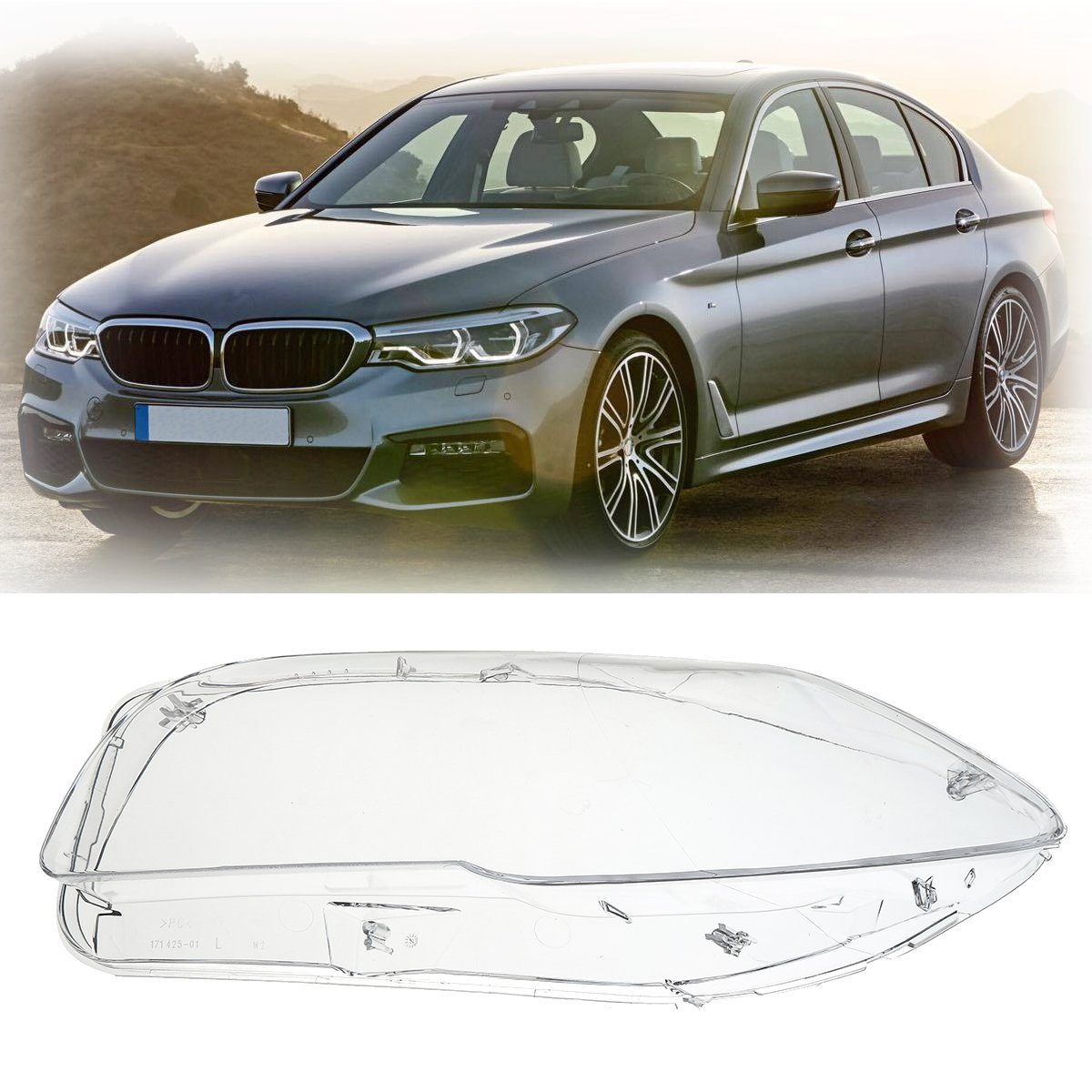 Фотография Left/ Right Side Headlight Clear Lens Cover For BMW F10 F18 520 523 525 535 530 2010-2014