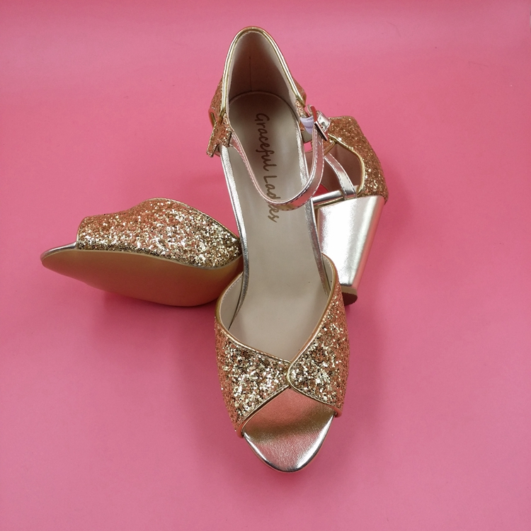 Gold Sequin Wedding Shoes Peep Toe Ankle Straps Low Chunky