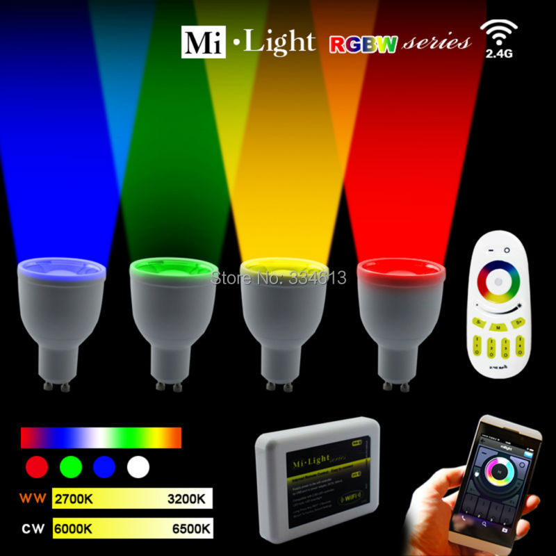 85-265V Milight 2.4G GU10 4W RGB +Warm/Cool White LED Light Dimmable Bulb Lamp +RF Touch Remote+ Wifi Controller автохимия grass антидождь