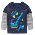 Vidmid meninos t-shirt dos miúdos t-shirt do bebê menino tshirts de marca crianças blusas de manga longa 100% algodão listras carros caminhões frete grátis