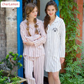 Hot sale Autumn soft cotton long-sleeved loungewear striped casual sleepshirts for women nightgowns simple ladies nightshirts
