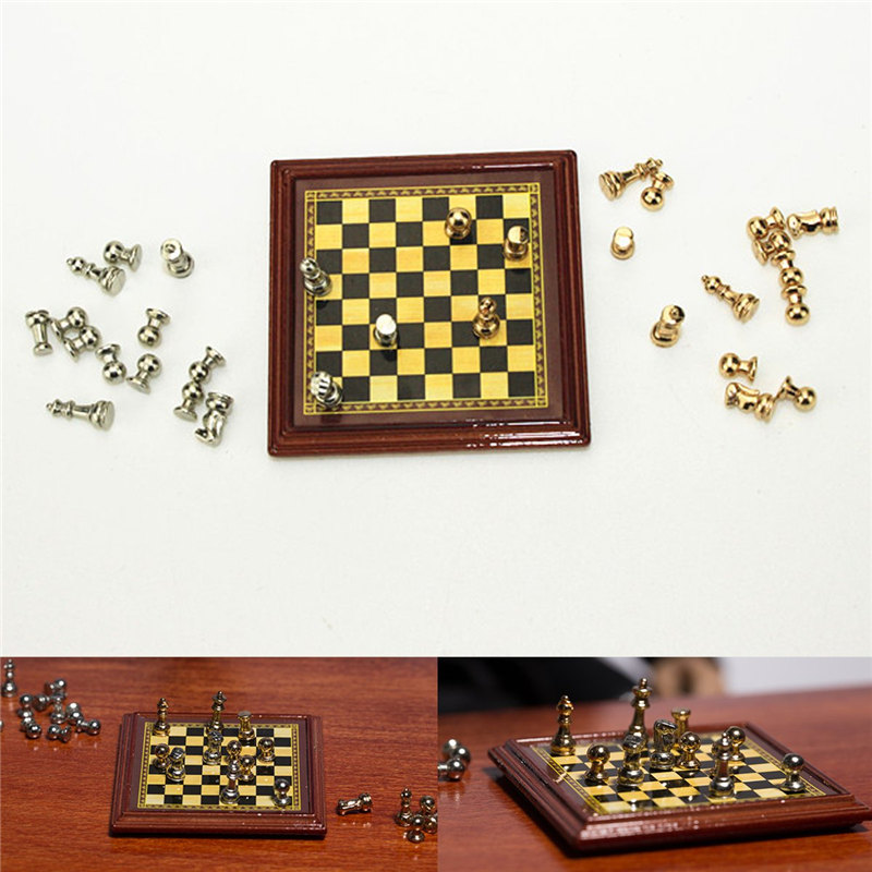 1:12 Scale Dollhouse Miniature Metal Chess Set Board Toys  Chess Games Home Room Dollhouse Toy Set Table Games For Children Kids