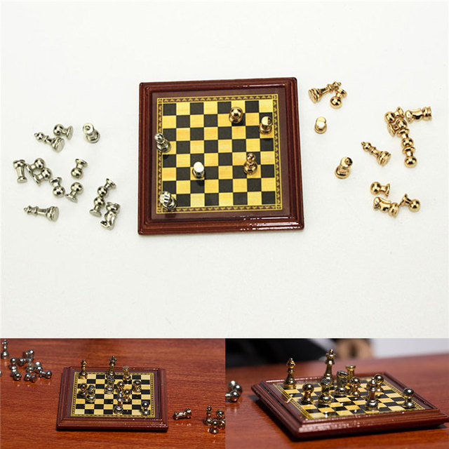 112 Scale Dollhouse Miniature Metal Chess Set Board Toys Chess Games Home Room Dollhouse  sc 1 st  AliExpress.com & 1:12 Scale Dollhouse Miniature Metal Chess Set Board Toys Chess ...
