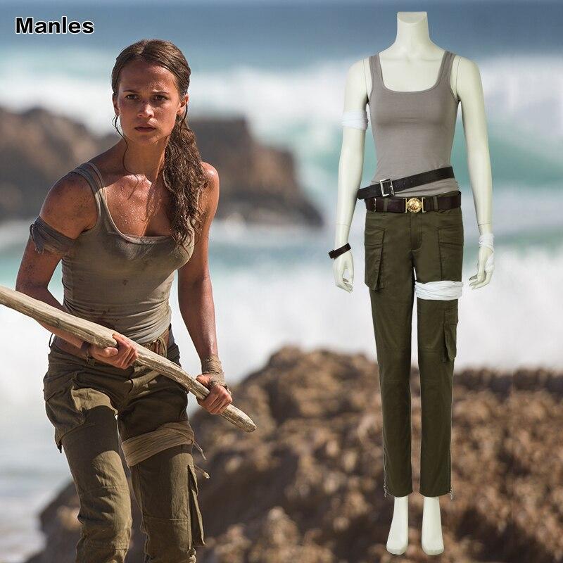 8a0ac0385 Película Tomb Raider Cosplay disfraz ara traje Halloween chaleco pantalones  conjunto completo ...