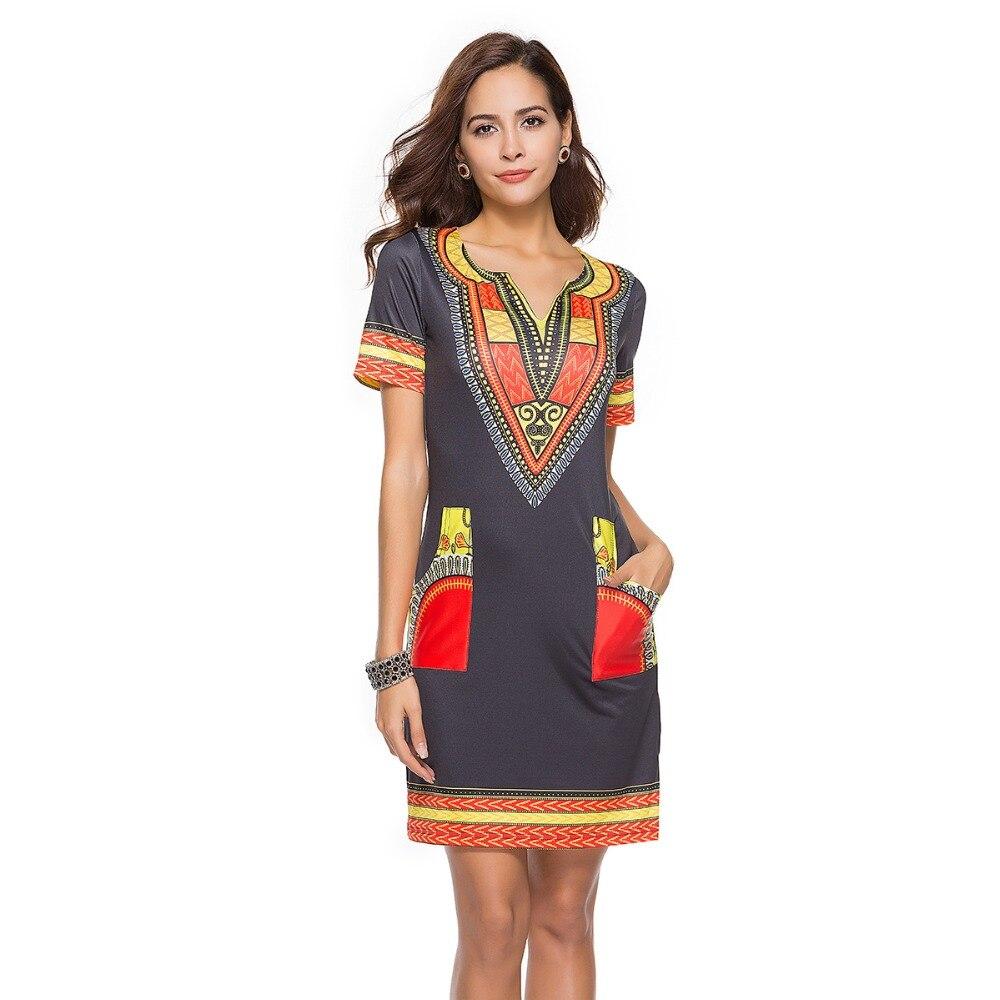 Ethnischen Art Print Kleid Frauen Kurzarm Traditionellen Dashiki ...