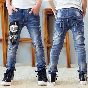 Kids Jeans Elastic Waist Stretch Denim Pants Boys Cartoon Leggings For 4-14 Years Children 2018 Autumn Spring Pencil Trousers Boys Jeans