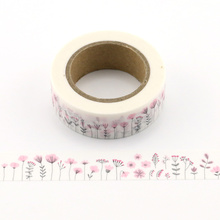 1pc pink flower Decorative Washi Tape Paper DIY Scrapbooking Adhesive 10m School Office Supply