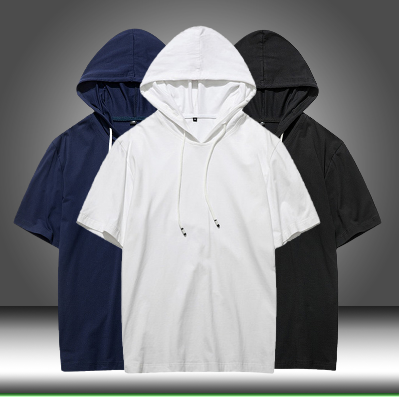 2020 Summer Men Tshirt Casual Solid Loose Hooded Tops Tees Shirts Male New Sportswear Hoodie Short Sleeve Mens T-shirt Clothing